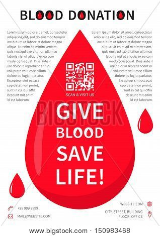 Blood Donation poster vector template. Blood Donation banner layout with sample text big red drop contact information and qr code on grey background. Phrase Give Blood Save Life graphic design.