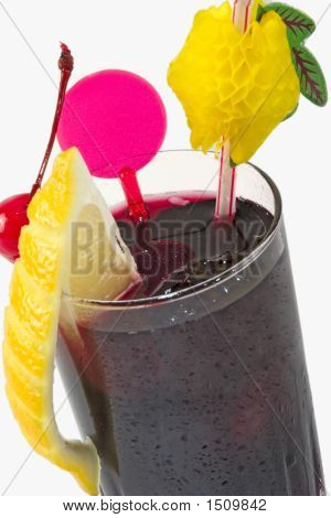 Dark Drink With Citron And Cherry On White Background