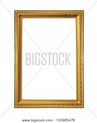 Gold wooden frame isolated on white background with clipping paths to easy deployment.