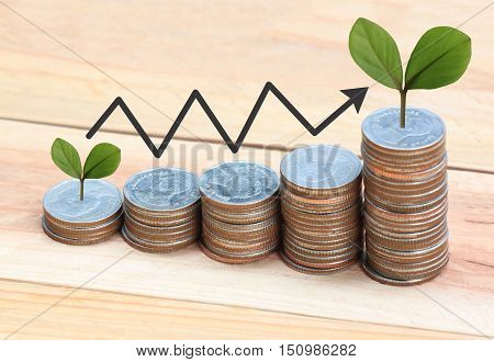 silver coin stack and arrow line and have treetop in business growth concept on wood floor.