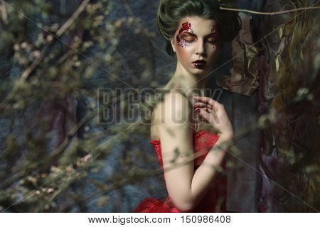 Fashion portrait of romantic beautiful girl