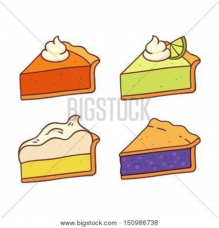 Set of traditional American pies: Pumpkin Key Lime Lemon Meringue and Blueberry pie. Cute cartoon vector drawings.