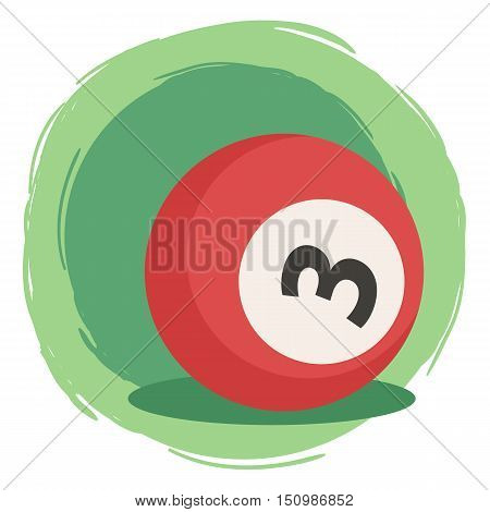 Billiard Ball Number 3 Three Red Vector Illustration