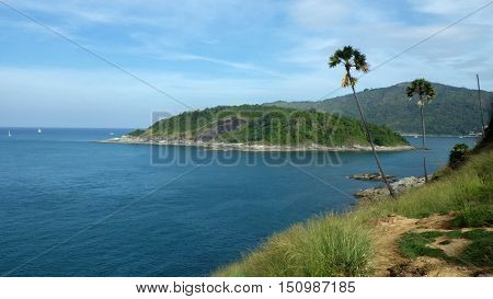 View of Yanui Beach and Koh Kaeo Noi on Phuket island Andaman Sea in South Thailand.