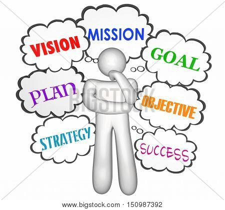 Vision Goal Mission Thinker Thought Clouds 3d Illustration