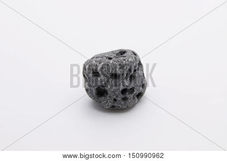 Gray Volcanic Rock Isolated on White Background