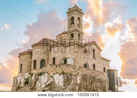 View of the Orthodox Church of Panagia Teoskepasti seventh century, Paphos, Cyprus.
