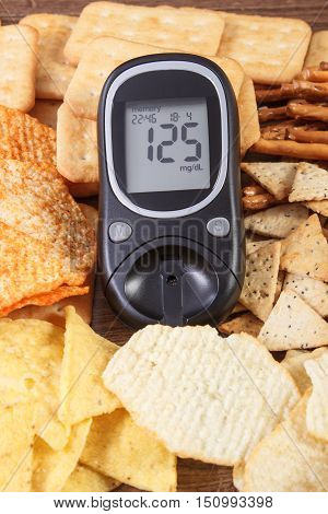 Glucometer And Heap Of Unhealthy Food, Concept Of Diabetes