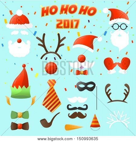 Set of Christmas party vector elements. ?ostume decoration: mask and mustache, Santa Claus beard and hat elf, deer antlers and eyeglasses. Xmas and New Year sticker. Illustration isolated