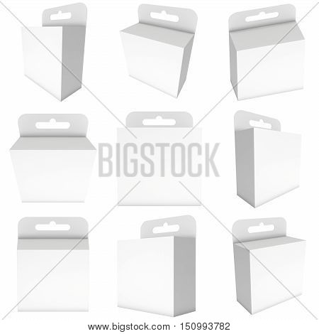 White paper hanging box set. Packaging container with hanging hole. Mock up template. 3d render isolated on white background.