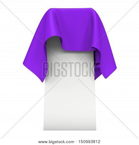 Presentation pedestal covered with purple cloth. Place for award or prize cover by cloth. 3d render illustration isolated on white.