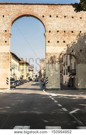 Cherasco,Italy,Europe - September 10, 2016 : View of the Arch of Porta Narzole