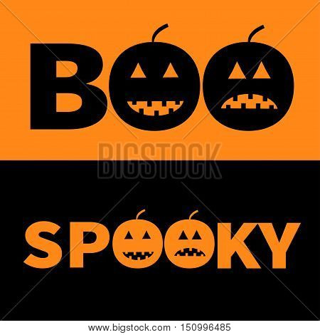 Word BOO SPOOKY text with smiling sad black pumpkin silhouette. Banner lettering set. Happy Halloween. Greeting card. Flat design. Orange baby background. Vector illustration