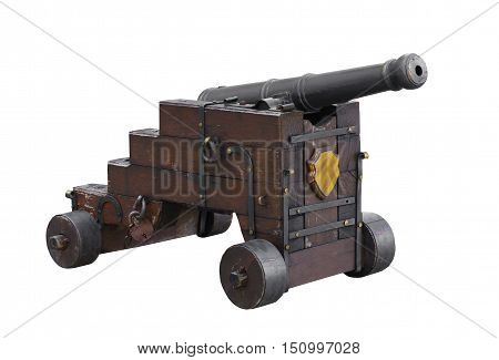 ancient ship cannon on a white background isolated