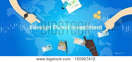 FDI Foreign Direct Investment vector concept illustration