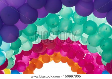 Multicolored arched balloons as decoration and background