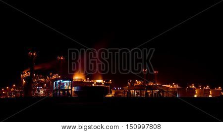 Oil refinery power station  at a night