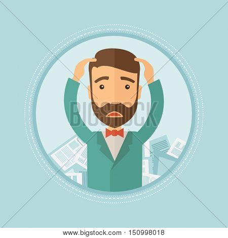 Depressed caucasian hipster businessman with beard sitting in heap of papers. Frustrated businessman having a lot of paperwork. Vector flat design illustration in the circle isolated on background.