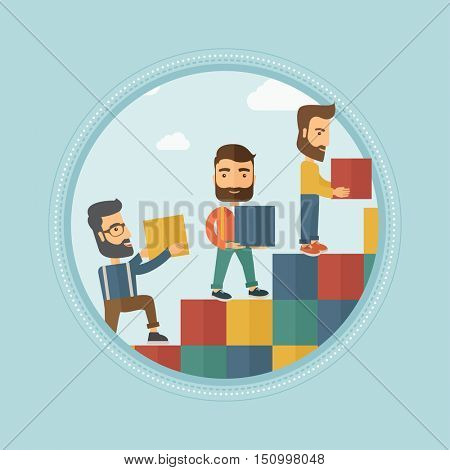 Group of young caucasian hipster business people building stairs to success or career ladder. Business career, partnership concept. Vector flat design illustration in the circle isolated on background