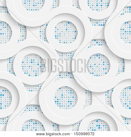 Seamless Circle Design. Futuristic Tile Pattern. 3d Elegant Minimal Geometric Background. Abstract White and Blue Grid Wallpaper