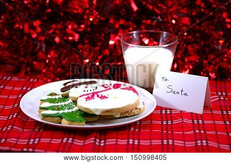 Snow man Christmas tree Ginger bread cookie with note for Santa