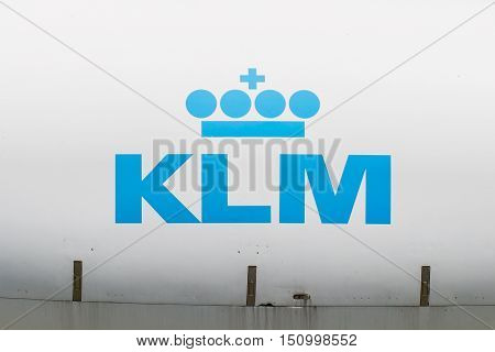 Lelystad, The Netherlands - June 9; Logo Of The Dutch Klm, Royal Dutch Airlines Company Founded In 1