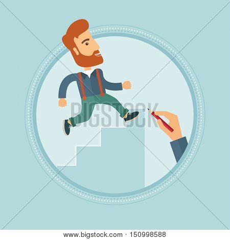 A hipster businessman with beard running upstairs drawn by hand with pencil. Man climbing to success. Concept of business career. Vector flat design illustration in the circle isolated on background.