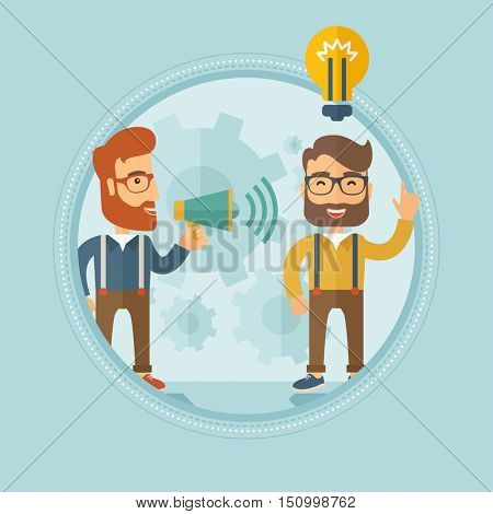 Caucasian hipster businessman with the beard speaking to megaphone and making announcement for business idea. Concept of business idea and announcement. Vector line design illustration. Square layout.
