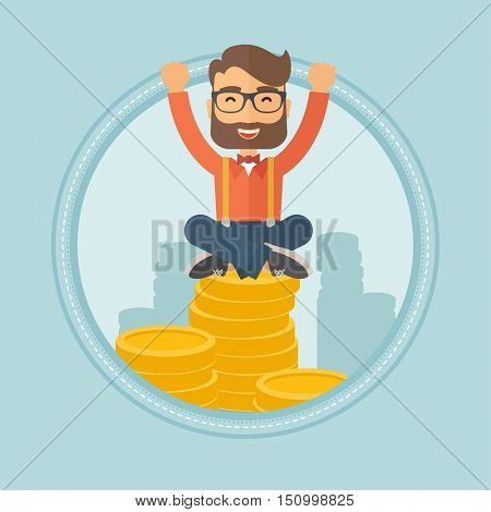 A happy hipster businessman with raised hands sitting on stack of golden coins. Successful business and cheerful leader concept. Vector flat design illustration in the circle isolated on background.