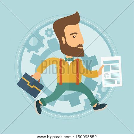 A hipster businessman with the beard running in a hurry with a briefcase and a document in hands. Concept of stress in business. Vector flat design illustration in the circle isolated on background.