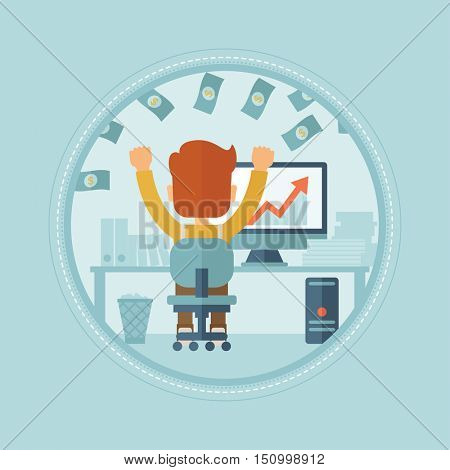 Successful businessman with raised hands sitting in front of computer monitor in office under money rain. Business success concept. Vector flat design illustration in the circle isolated on background