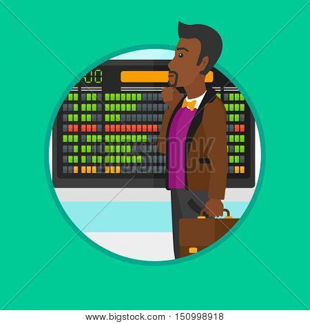 African-american man looking at departure board at the airport. Passenger standing at the airport in front of the departure board. Vector flat design illustration in the circle isolated on background.