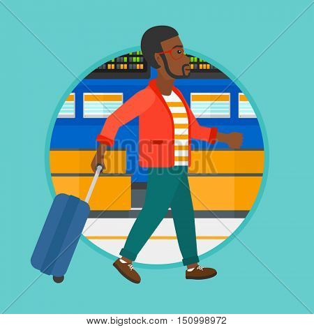 African-american man walking at the airport. Passenger with a suitcase walking on the background of schedule board at the airport. Vector flat design illustration in the circle isolated on background.