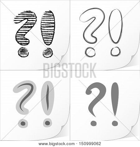 Exclamation and question mark sign icons set. Attention speech symbols. Vector illustration.