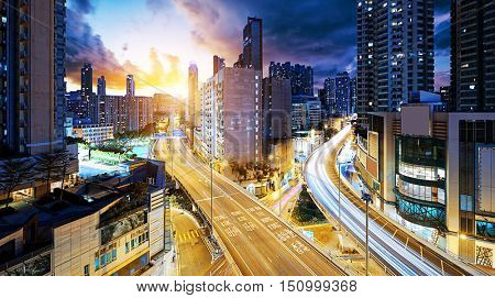 Hong Kong downtown , Sham Shui Po District at night