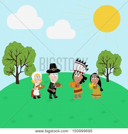 Pilgrims and indians illustration. Thanksgiving day illustration. Vector illustration