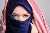 picture of niqab  - Portrait of a cute blond scandinavian teenager girl with niqab - JPG