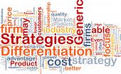 image of differential  - Background concept wordcloud illustration of business differentiation strategies - JPG