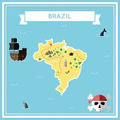 Flat Treasure Map Of Brazil. Colorful Cartoon With Icons Of Ship, Jolly Roger, Treasure Chest And Ba poster