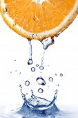 picture of orange-juice  - fresh water drops on orange with water splash  isolated on white - JPG