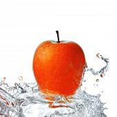 Постер, плакат: пресной воды всплеск на Красное яблоко изолированные на белом