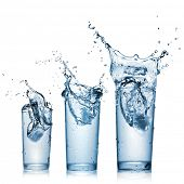 image of glass water  - water splash in glasses isolated on white - JPG