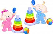 pic of cylinder pyramid  - The toddler boy and girl plays developing game - JPG