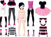 image of emo  - Paper Doll with different dresses  - JPG