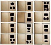 Постер, плакат: старые фото альбомы набор изолированные на белом фоне