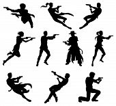 stock photo of gunfights  - Silhouettes of movie action sequence shootout men and women in dynamic poses - JPG