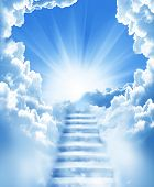 stock photo of heavenly  - stairs in sky - JPG