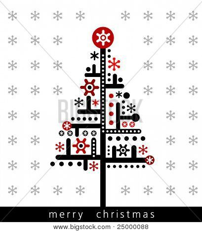 Christmas funky greeting card, vector illustration