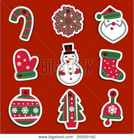 Vector Christmas tags for gifts or stickers