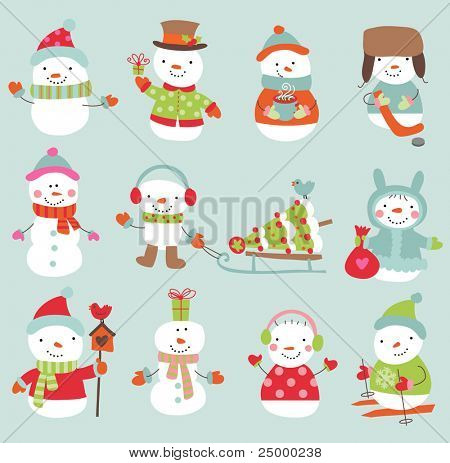 Set of 11 vector cute and funny snowmen